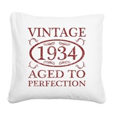 Vintage 1934 Birth Year Square Canvas Pillow