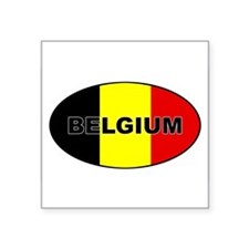 "Cute Belgium flag Square Sticker 3"" x 3"""