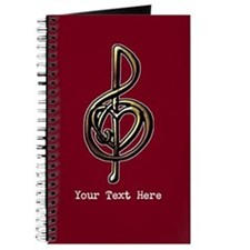 Red Music Heart Treble Clef Journal