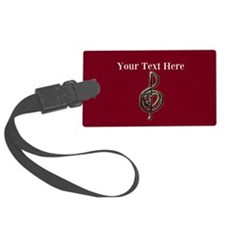 Red Music Heart Treble Clef Luggage Tag