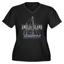 Amelia Islan Women's Plus Size V-Neck Dark T-Shirt