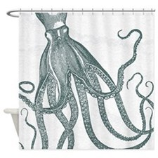 Vintage Octopus in Deep Green with Marbling Backgr