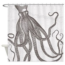 Vintage Octopus in Mocha with Marbling Background