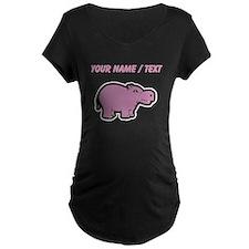 Custom Purple Hippo Maternity T-Shirt