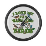 I Love My Backyard Birds Large Wall Clock