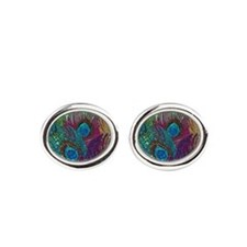 Colorful Peacock Feathers Oval Cufflinks