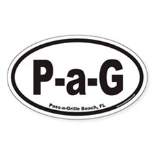 Pass-a-Grille Beach P-a-G Euro Oval Decal