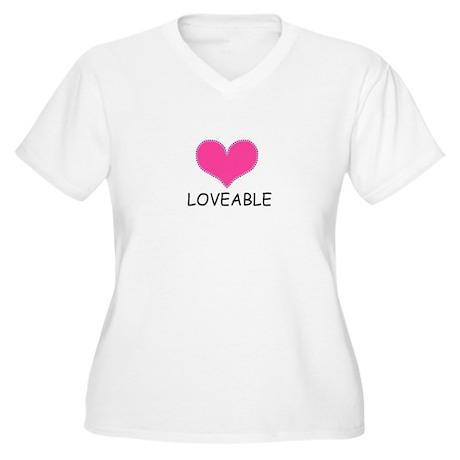 LOVEABLE Women's Plus Size V-Neck T-Shirt