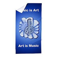 Personalized Blue Treble Clef Music De Beach Towel