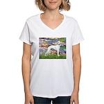 Lilies & Whippet Women's V-Neck T-Shirt