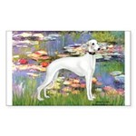 Lilies & Whippet Sticker (Rectangle)