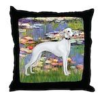 Lilies & Whippet Throw Pillow