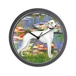Lilies & Whippet Wall Clock