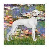 Lilies &amp; Whippet Tile Coaster