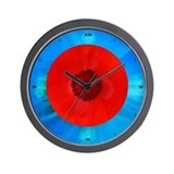 Blue & Red Poppies Wall Clock