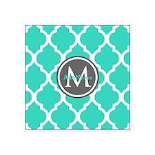 """Teal Gray Moroccan Lattice Square Sticker 3"""" x 3"""""""