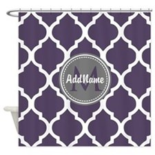 Monogrammed Purple & Grey Quatrefoi Shower Curtain
