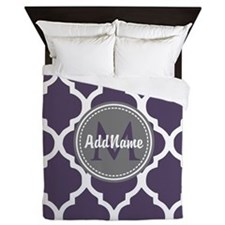Monogrammed Purple & Grey Quatrefoil Queen Duvet