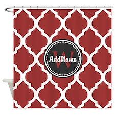 Red Quatrefoil Monogram Shower Curtain