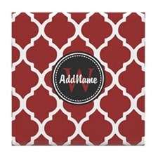 Red Quatrefoil Monogram Tile Coaster
