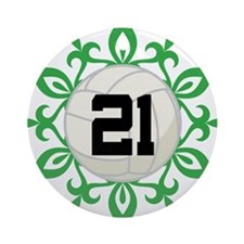Volleyball Player Number 21 Ornament (Round)