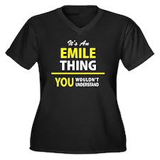 Cute Emilio Women's Plus Size V-Neck Dark T-Shirt