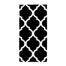 Quatrefoil Black and White Beach Towel
