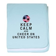 Keep Calm and Cheer On United States baby blanket