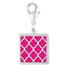 Quatrefoil Hot Pink Silver Square Charm