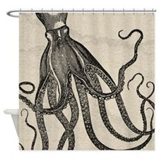 Beautiful Black Octopus On Marbling Shower Curtain