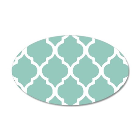 Aqua Chic Moroccan Lattice P 35x21 Oval Wall Decal