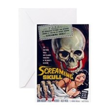 screaming skull Greeting Cards