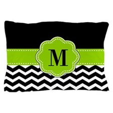 Black Green Chevron Personalized Pillow Case