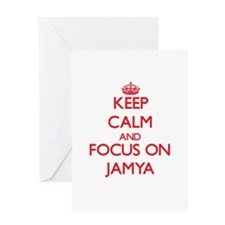 Keep Calm and focus on Jamya Greeting Cards