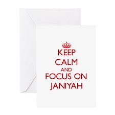 Keep Calm and focus on Janiyah Greeting Cards