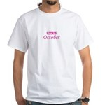 Due In October - Pink White T-Shirt