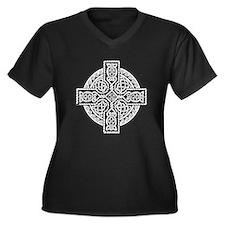 Celtic Cross 19 Women's Plus Size V-Neck Dark T-Sh