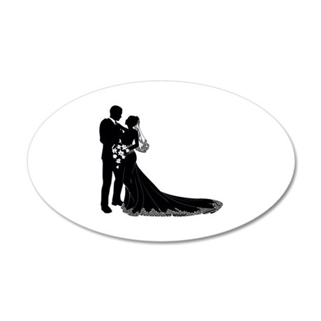 Wedding Bride Groom Silhouette Wall Decal