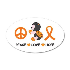 Ladybug Peace Love Hope 35x21 Oval Wall Decal