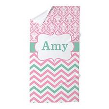 Pink Green Damask Chevron Personalized Beach Towel