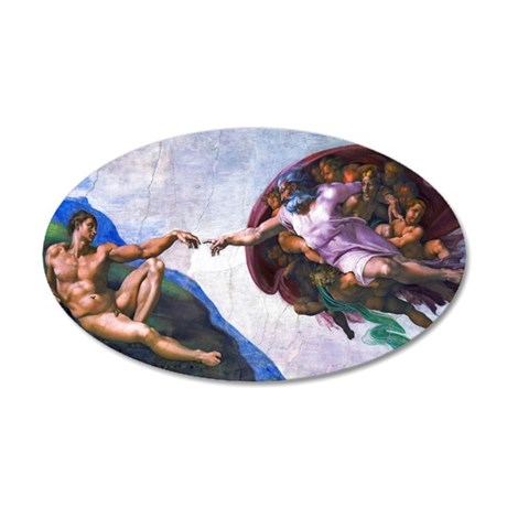 Michelangelo: Creation of Ad 20x12 Oval Wall Decal