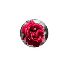 Red Rose on B/W Mini Button (10 pack)