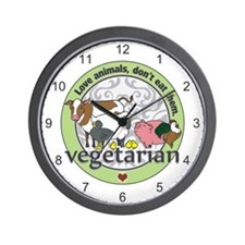 Love Animals Dont Eat Them Vegetarian Wall Clock