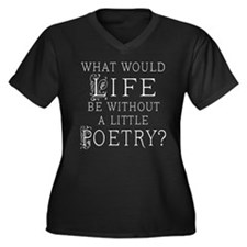 Cute Poetry Women's Plus Size V-Neck Dark T-Shirt