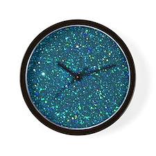 Teal Glitter Wall Clock