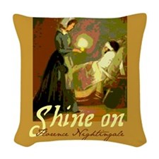 Florence Nightingale With Lamp Woven Throw Pillow