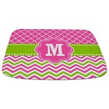 Pink Green Chevron Quatrefoil Monogram Bathmat