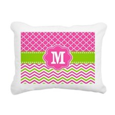 Pink Green Chevron Quatrefoil Monogram Rectangular