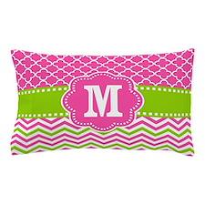 Pink Green Chevron Quatrefoil Monogram Pillow Case