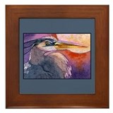 Red Sky Heron Framed Tile